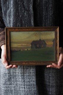 煙突のある家-oil painting frame