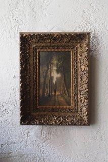 木立歩く人一人-landscape oil painting frame