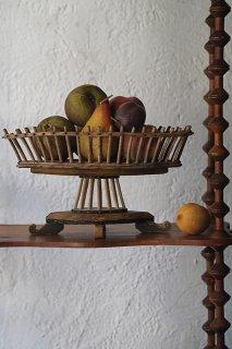 飾り奉る木製器-antique boat-shaped wood compote