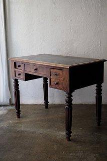 オーク・レザートップワークデスク-antique oak drawer desk