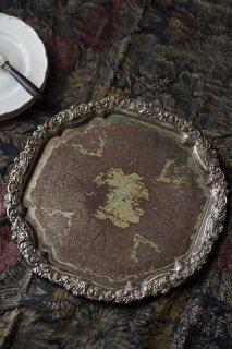銀盆 葡萄蔦装い-antique shefield plate tray