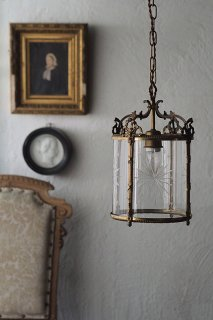 アスタリスクカット円筒ペンダントランプ-french glass pendant lamp