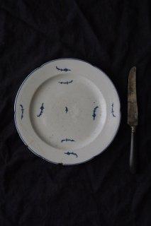 追白な青い花 お皿-antique porcelain dish