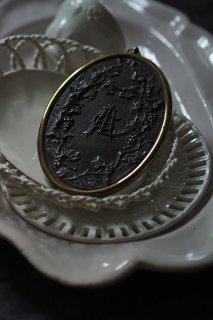 シンメトリーな葡萄 楕円ミラー-antique oval face mirror