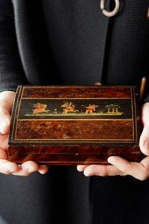 野遊びキューピッド-vintage or antique wood card box