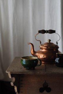 小さな緑釉マグ 1客-antique pottery mug
