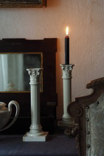 クリームウェア円柱燭台-pair antique cream ware candle stand