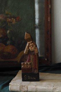 愛嬌たっぷり サンタクロース-vintage wood caved statue