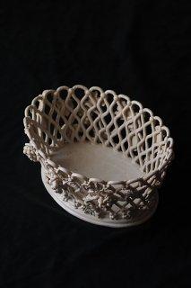 陶器の葡萄籠ジャルディニエ-antique pottery oval basket