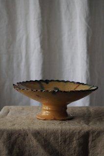 海に灼ける太陽差す色-antique pottery compote