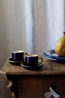 濃紺にゴールド光る小さきもの-antique demitasse cup & saucer set