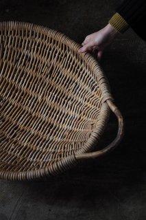 ざっくり、大きな持ち手籠-antique round basket