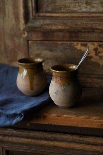 マスタードカラーのマスタード入れ-antique mustard  jar