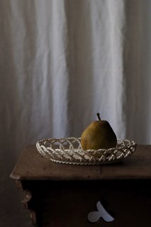 編み重ねて重複の陶器トレイ-antique oval pottery tray