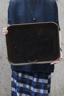 射干玉黒のパピエマシェトレイ-antique papiermache tray