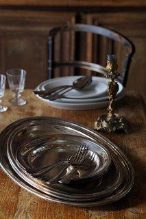 洋白輝きのメタルプレート-vintage silver plate serving platter