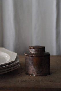 茶器 茶筒を進ず-antique metal tea caddy