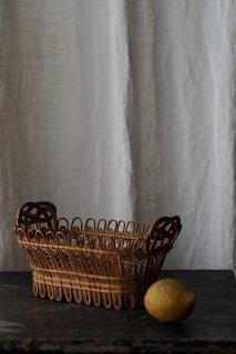 巻き巻きバスケットを象り-antique rattan oval basket