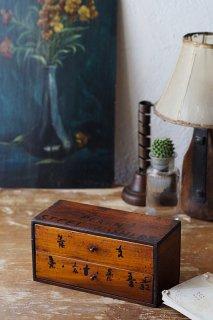 お道具木箱-antique wood drawer box