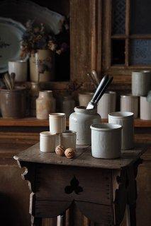 灰白と土色 貯蔵壺-antique pottery pot