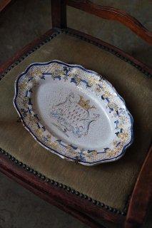 ブルターニュ公国紋章プレート-antique pottery oval plate