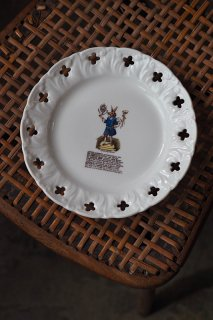 半身半獣 寓話的絵柄-antique pottery plate