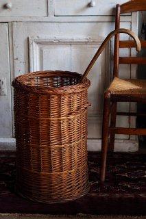 長モノまとめ上手なバスケット-antique round tube willow basket