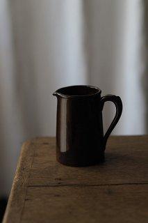 こっくり、、ブラウンの深み-antique pottery milk pitcher
