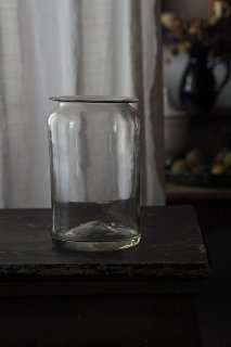 波打つガラス貯蔵瓶-antique glass pot