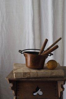 銅鍋 お水を張る-antique copper pot