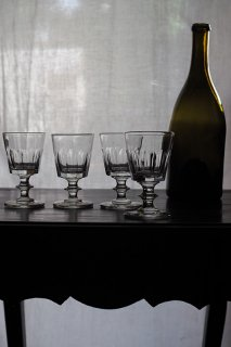 澄んだ打音 ガラスカップ4点セット-vintage crystal glass set