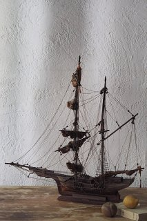 帆船 空をたゆたう-antique sailing ship objet