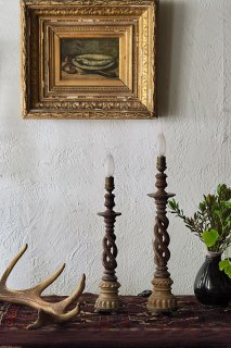 二重螺旋 木彫スタンドランプ-antique wood spiral stand lamp