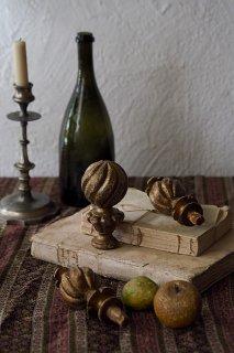 捻り擬宝珠オーナメント3個セット-antique wood ornament set