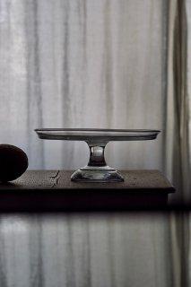透明、素直なガラスコンポート-antique glass compote