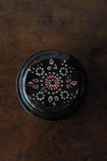 点描 花火を模した蓋物-antique wood powder box