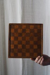 市松幾何学枠 納めの美学-antique inlay chess board
