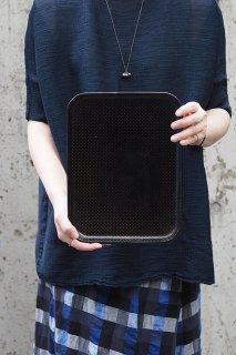射干玉黒のパピエマシェトレイ/ Sサイズ-antique papiermache tray