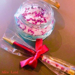 【雑貨】Alice Land original  ボールペン & jewelry salt *ルビー(100g)