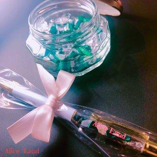 【雑貨】Alice Land original  ボールペン & jewelry stone *マラカイト(100g)