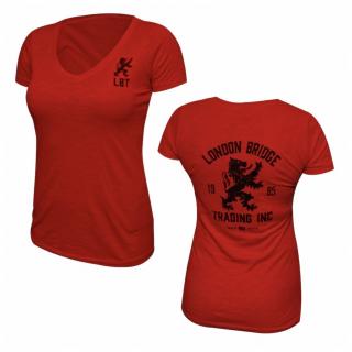 LBT-ORIGIN-TEE WOMENS  Vintage Rampant Lion Short Sleeve V-Neck T-Shirt