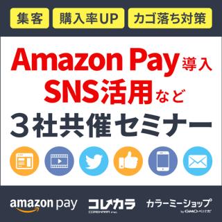 <img class='new_mark_img1' src='https://img.shop-pro.jp/img/new/icons5.gif' style='border:none;display:inline;margin:0px;padding:0px;width:auto;' />※終了【2017/08/09(水)】Amazon、これから、カラーミーショップ 3社セミナー@大阪・梅田