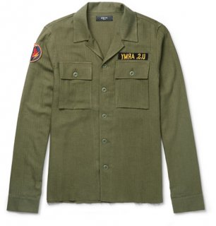 AMIRI/アミリ APPLIQUED HERRINBONE COTTON AND CASHMERE-BLEND ARMY GREEN/メンズ/A0170