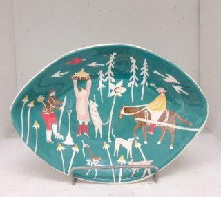 Green Garden Feast Oval Bowl  Polly Fern