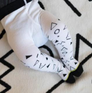 Baby trousers memphis black ベビータイツ幾何学ブラック×ホワイト