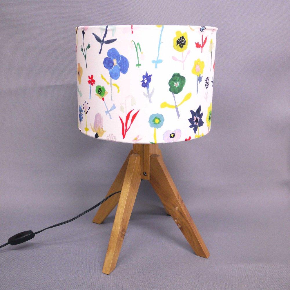 オリジナルテキスタイル( 花 ) × ランプシェード手作りキット( size L )  Original textile ( flower ) × Lampshade DIY kit ( L )