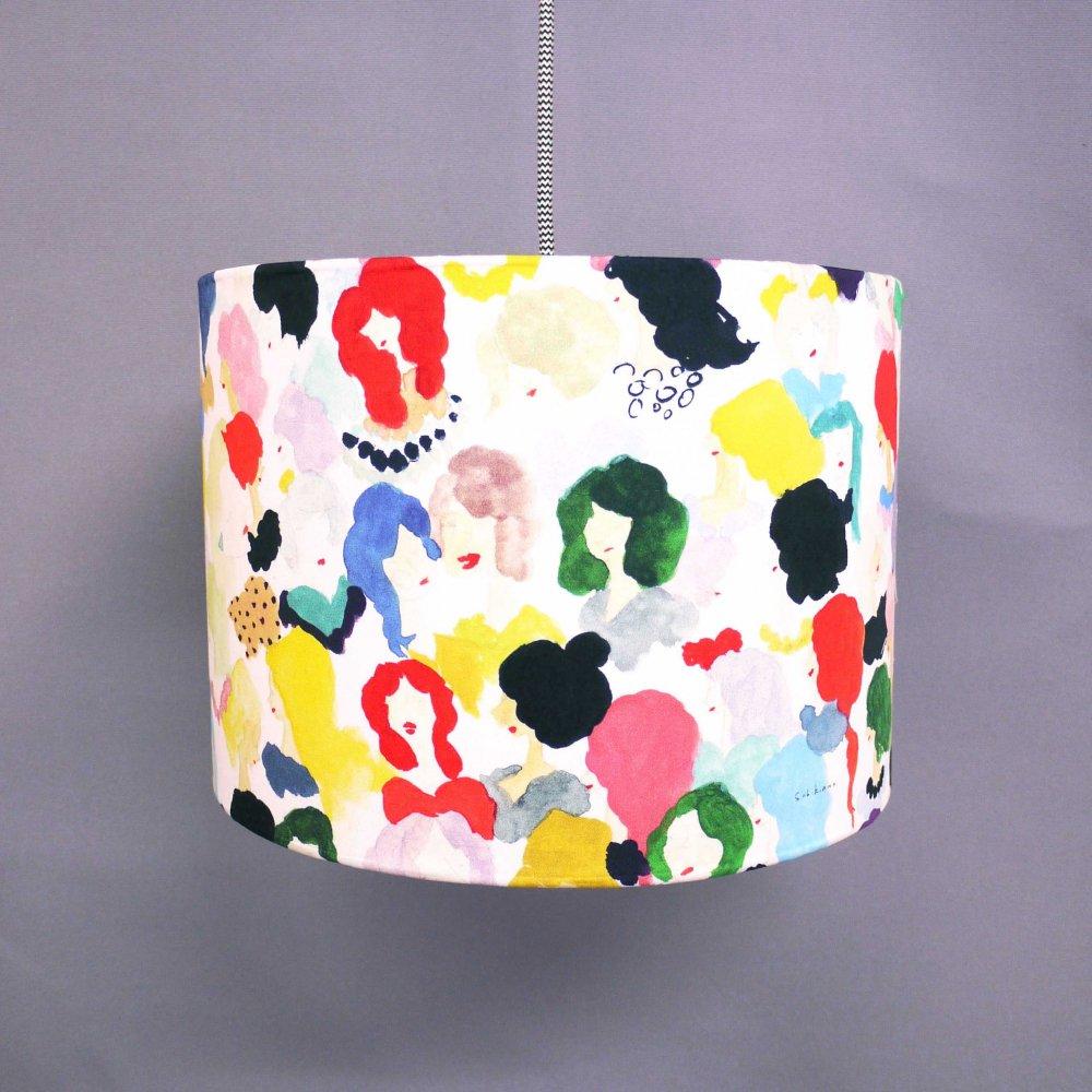 オリジナルテキスタイル( 顔 ) × ランプシェード手作りキット( size L )  Original textile ( face ) × Lampshade DIY kit ( L )