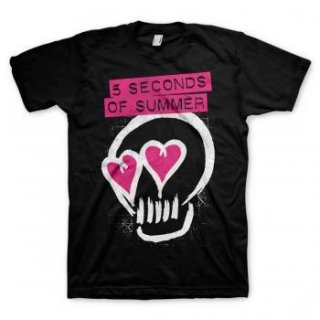 5 SECONDS OF SUMMER Heart Skull Pink, Tシャツ