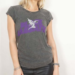 BLACK SABBATH Logo & Demon with Acid Wash Finish, レディースTシャツ
