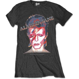 DAVID BOWIE Aladdin Sane Grey, レディースTシャツ